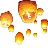 White Paper Lanterns,Shellvcase 10Pcs Sky Wish Lanterns,Fully Assembled, 100% Biodegradable, New Designed Sky Lanterns for Birthdays, Ceremonies, Weddings and More