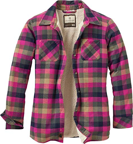 Legendary Whitetails Women's Open Country Shirt Jacket Fuchsia Navy Plaid ()