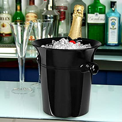 Acrílico de vino y champán cubos negro – Estuche de 36 | plástico vino champán de