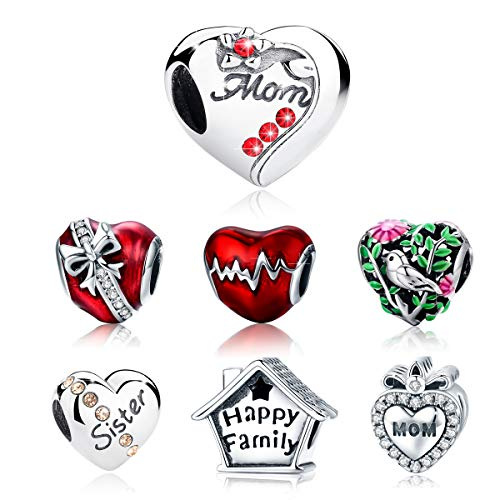 - BAMOER 925 Sterling Silver Heart Charm Mom Charm Beads Love Heart Shape Charm Fit Bracelet Necklace