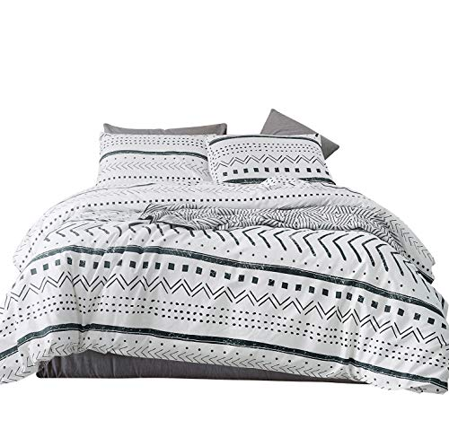 - SUSYBAO 3 Pieces Duvet Cover Set 100% Natural Cotton White Queen Size Black Herringbone Geometric Pattern Bedding with Zipper Ties 1 Stripe Print Duvet Cover 2 Pillow Cases Hotel Quality Soft Durable