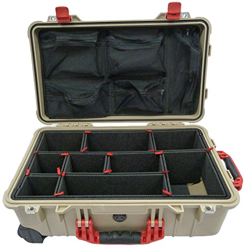 "Price comparison product image Tan & Red ""Colors"" series case Pelican 1510 case with TrekPak divider system & 1519 Lid Organizer."