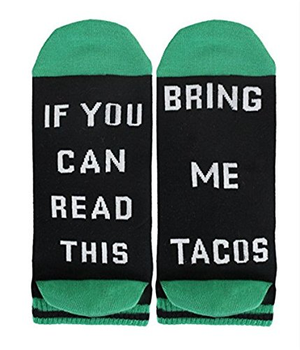 SurBepo If You Can Read This Bring Me Some Wine Coffee Beer Gift Knitting Word Combed Cotton Crew Socks for Men Women (Green Tacos)