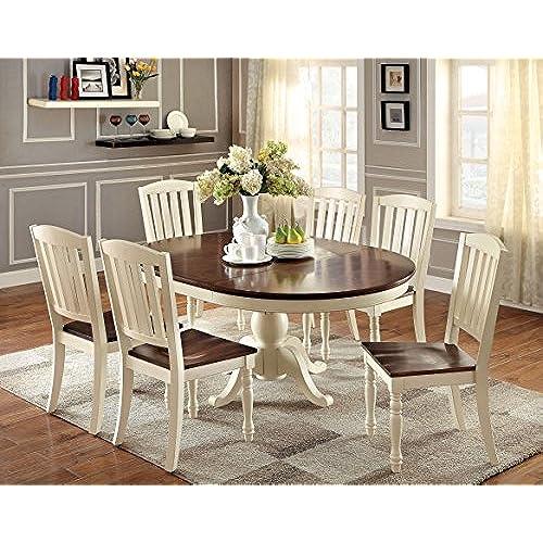 Furniture Of America Pauline 7 Piece Cottage Style Oval Dining Set, Vintage  White U0026 Dark Oak Finish