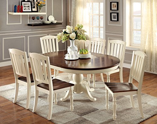 Furniture of America Pauline 7-Piece Cottage Style Oval Dining Set