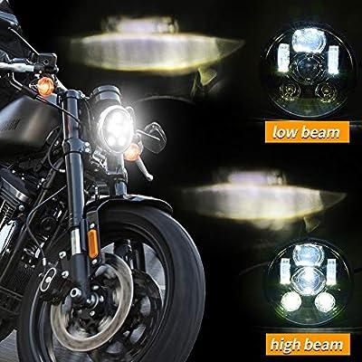 5-3/4 5.75 inch LED Headlight for Harley Davidson 883 Sportster Iron Dyna Street Bob Motorcycle Driving Light (black): Automotive