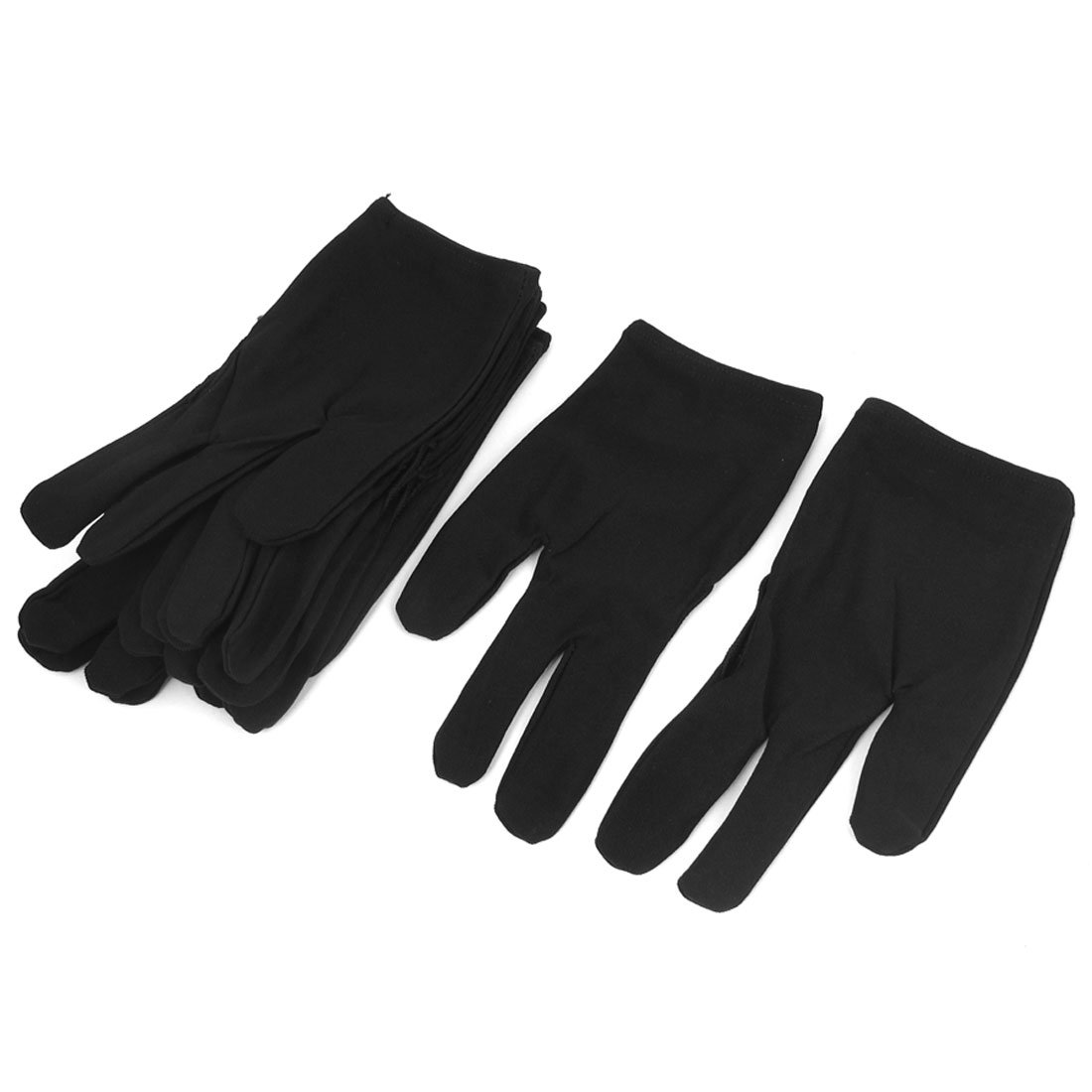 uxcellNylon Pool Cue Stick Shooter Billiard 3 Fingers Gloves 6 Pairs Black a15112300ux1409