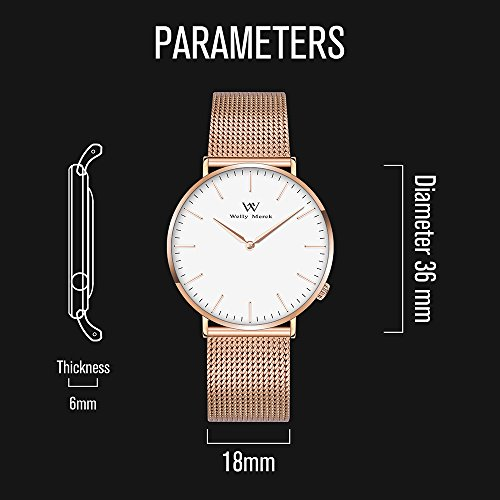 Welly Merck Swiss Movement Sapphire Crystal Women Luxury Watch Minimalist Ultra Thin Slim Analog Wrist Watch 18mm Rose Gold Stainless Steel Mesh Band in White 36mm 164ft Water Resistant by WM WELLY MERCK (Image #2)