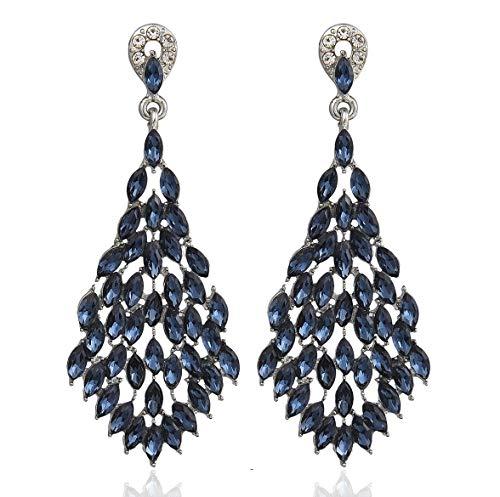 Janefashions Sexy Marquise Women's Bohemian Dangle Drop White Navy Blue Austrian Crystal Rhinestone Chandelier Earring Earrings Studs H38 (Navy) ()