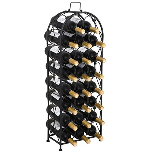 F2C 23 Bottles Wine Rack Stand Floor Wine Holder Metal Construction Free Standing Elegant French Style (Floor Wine Rack Metal)