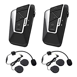 SUAOKI Auriculares de intercomunicador Moto, Bluetooth para Cascocon 2 Pares de Micrófonos, 1200m (Manos Libres/IPX6 Impermeabilidad/GPS/FM Radio)