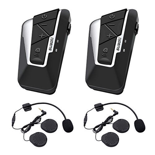 Suaoki T9S Bluetooth Motorcycle Intercom Helmet Headset Communication System with 2 Pairs Microphones for Motorbike, Bike, ATV, Car (Dual) (Intercom Inside)