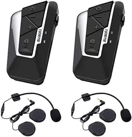 a7c60d3d5cd Suaoki T9S Bluetooth Motorcycle Intercom Helmet Headset Communication System  with 2 Pairs Microphones for Motorbike,