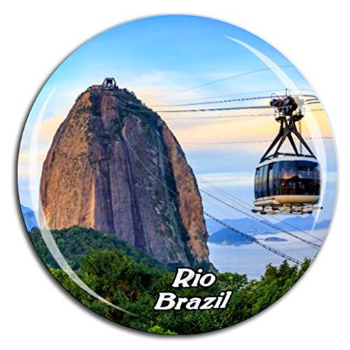 Sugarloaf Mountain Rio de Janeiro Brazil Fridge Magnet 3D Crystal Glass Tourist City Travel Souvenir Collection Gift Strong Refrigerator ()