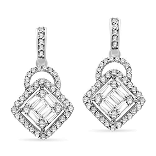 Halo Jewels 14K White Gold 0.95 Cttw Natural White Diamond Drop Earrings For Womens