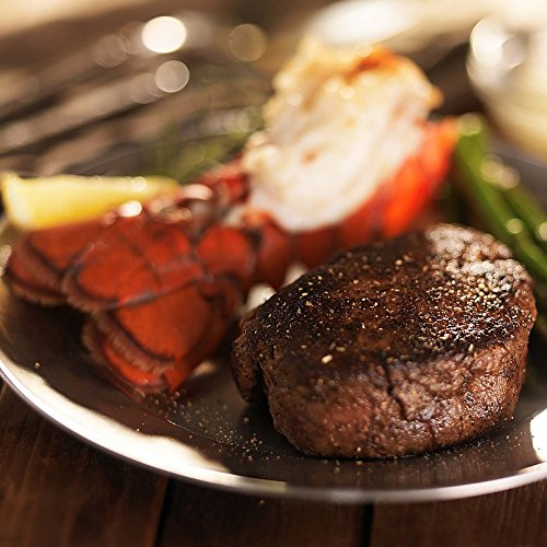 American Style Kobe Surf and Turf - 4 (8 oz) American Style Kobe Filet Mignon and 4 (5 oz) Cold Water Lobster (Filet Mignon Four Steaks)