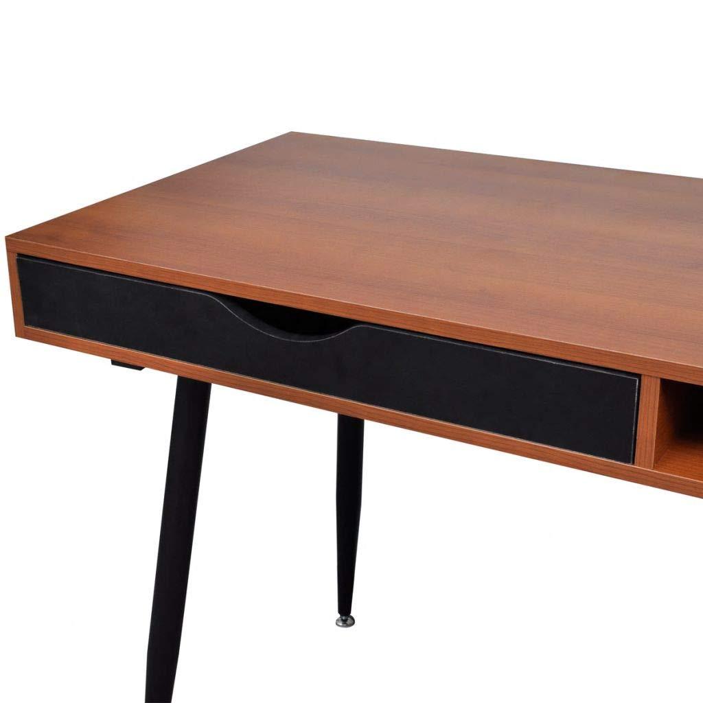 Computer Desk Brown Laptop PC Studieren Tisch Schreibtisch 1 Schreibwaren Schubladen Home Office Workstation Brown