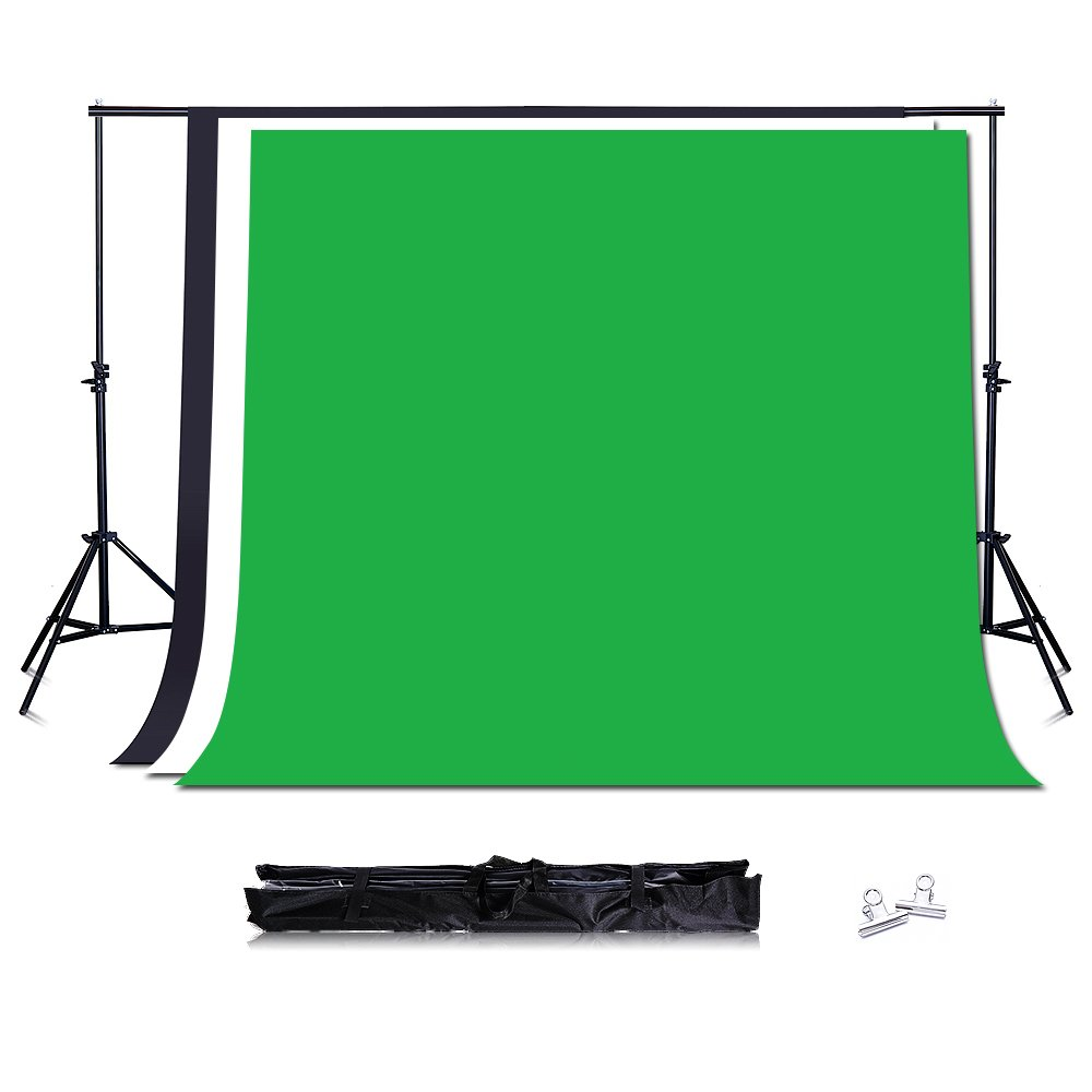 6.5X7 FT Photography Backdrop Background Stand Support System with 3 Colour Non-Woven Backdrop Set by TRUMAGINE