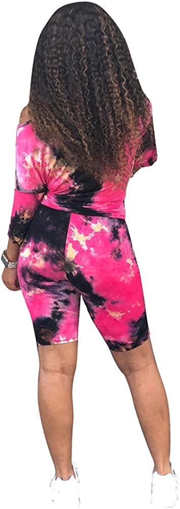 Remelon Womens Two Piece Casual Outfits Short Sleeve Printed T-Shirts Bodycon Shorts Set Tracksuit Club Jumpsuits