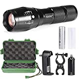 Outdoor LED Flashlight, totobay 5 Modes Zoomable Adjustable Focus Water-resistant Handheld Flashlight Torch with Bike Mount, 18650 Rechargeable Battery and Charger
