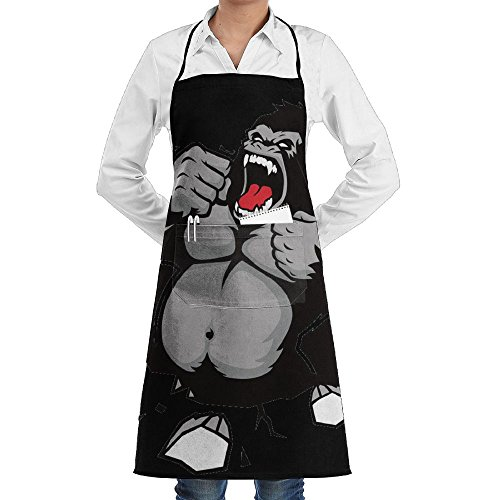 Novelty Funny Ape Breast Beating Kitchen Chef Apron With Big Pockets - Chef Apron For Cooking,Baking,Crafting,Gardening And (Apes Retro Cloth)