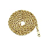 LOVEBLING 14K Yellow Gold 3.5mm Diamond Cut Rope Chain Necklace, Mens Womens with Lobster Lock (22)