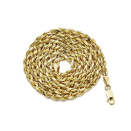 (LOVEBLING 14K Yellow Gold 3.5mm Diamond Cut Rope Chain Necklace, Mens Womens with Lobster Lock (22))