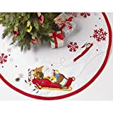 Bucilla Felt Applique Christmas Tree Skirt Kit, 43-Inch Round, 86582 Snowman and Scout