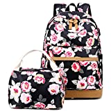 Laptop Backpack 15.6 Inch for Women College School Travel Canvas Computer Laptops Backpack With USB Charging Port Lunch Bag Set (Black-Flower)