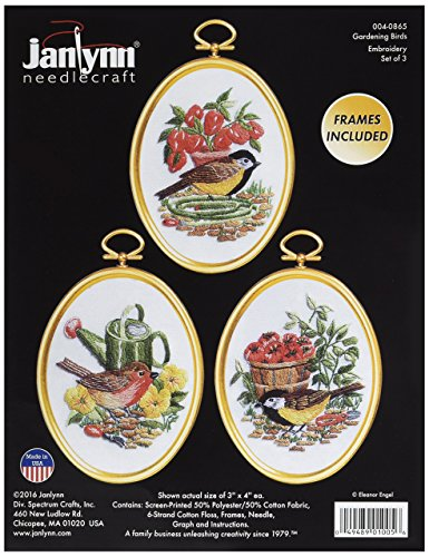 Janlynn 004-0865 N/A Gardening Birds Embroidery Kit Set of 3
