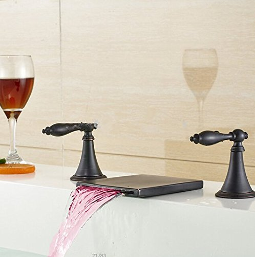 GOWE LED Oil Rubbed Bronze Waterfall Bathroom Basin Faucet Dual Handles Sink Mixer 2