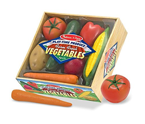 Melissa & Doug Playtime Produce Vegetables Play Food Set With Crate (7 pcs) ()
