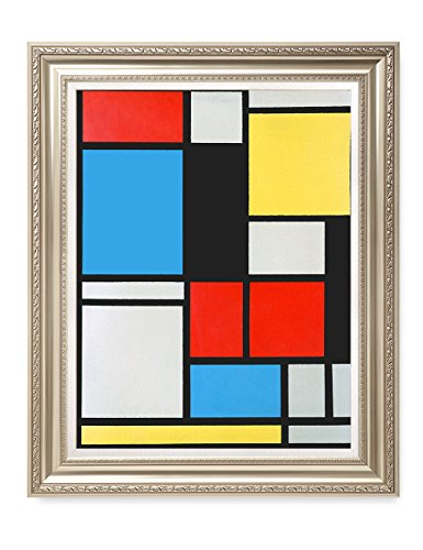 DECORARTS - Ater Piet Mondrian Composition in Blue, red and Yellow Lithograph in Colours. Giclee Prints Framed Art for Wall Decor. Framed Size: 30x36