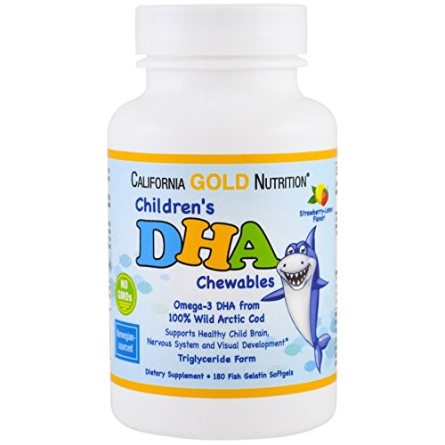100 Chewable Softgels (California Gold Nutrition, Children's DHA Chewables, 100% Wild Arctic Cod, Triglyceride Form - Norwegian-Sourced, Strawberry-Lemon Flavor, 180 Fish Gelatin Softgels)