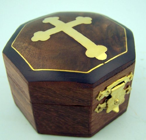 Brown Wood Rosary Box with Gold Budded Cross, 2 3/4 Inch (Rosary Keepsake)