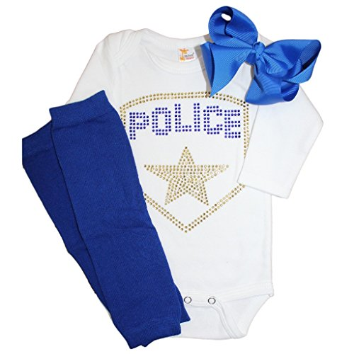 Baby Girls' Rhinestone Police Crystal outfit (Girls Police Outfit)