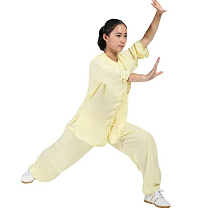 44130952d8bd Women s Martial Arts Tai Chi Uniform Kung Fu Clothing Half-Sleeve Wushu  Suit (Yellow