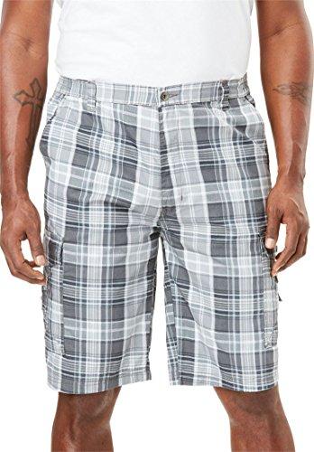 KingSize Men's Big & Tall Canyon Cargo Shorts, Steel Plaid (Steel Mens Shorts)