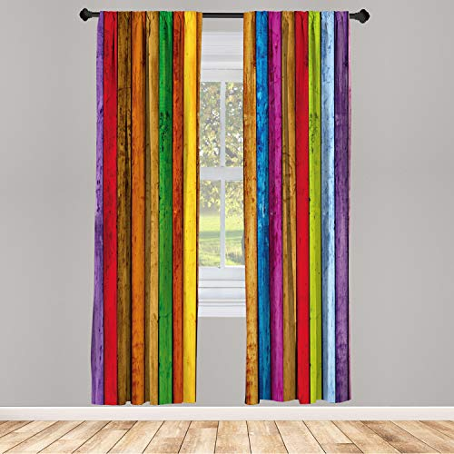 """Ambesonne Abstract Window Curtains, Vibrant Painted Wood Vertical Planks as Background Cheerful Rainbow Image, Lightweight Decorative Panels Set of 2 and Rod Pocket, 56"""" x 84"""", Red Brown"""