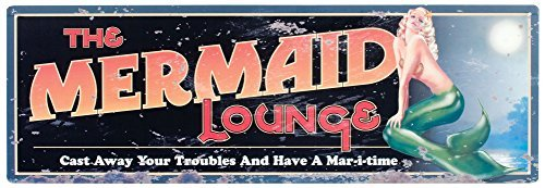 Mermaid Lounge Tin Sign 24 x 8in by Ohio ()