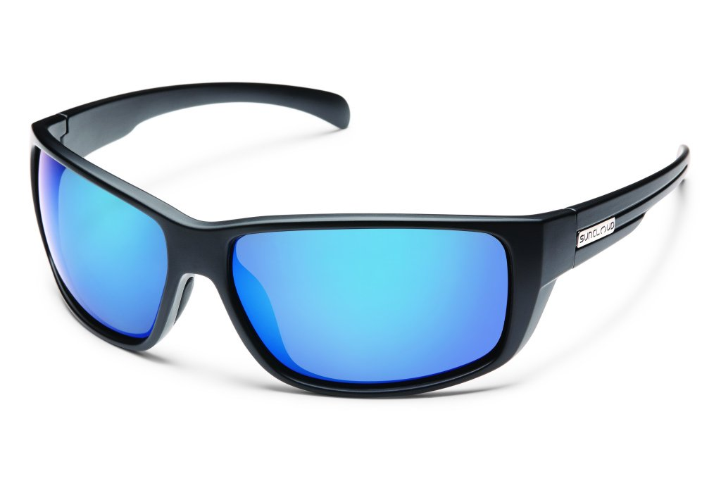 Suncloud Milestone Polarized Sunglass with Polycarbonate Lens, Matte Black Frame/Blue Mirror