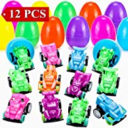 Sizonjoy 12 Pack Filled Easter Eggs with Pull Back Racing Cars Toys for Boys,2.36