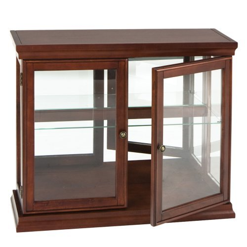 Southern Enterprises Double Door Curio with Mirrored Back Wall, Classic Mahogany Finish - Curio Display Case