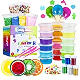25pc Slime Kit For Making DIY Crystal Clear Slime | 18 Colors Slime, 6 Pack Foam Beads, 4 Fruit and 3 Ice Cream Containers | Slime Supplies and Glitter Accessories For Boys and Girls