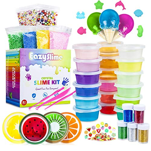 25pc Slime Kit For Making DIY Crystal Clear Slime | 18 Colors Slime, 6 Pack Foam Beads, 4 Fruit and 3 Ice Cream Containers | Slime Supplies and Glitter Accessories For Boys and Girls by Eazy Slime