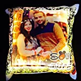 Craft N Creation Personalised Digital Printed LED Couple's Cushion for Anniversary, Marriage and Valentine's Day (Multicolour)