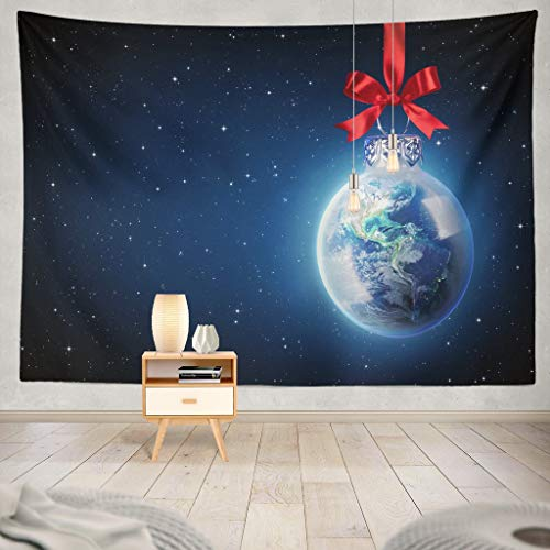 KJONG Christmas World USA Christmas World Ball Earth Planet Global Globe Peace Merry Ornament Space Holiday America Decorative Tapestry60X60 Inches Wall Hanging Tapestry for Bedroom Living Room