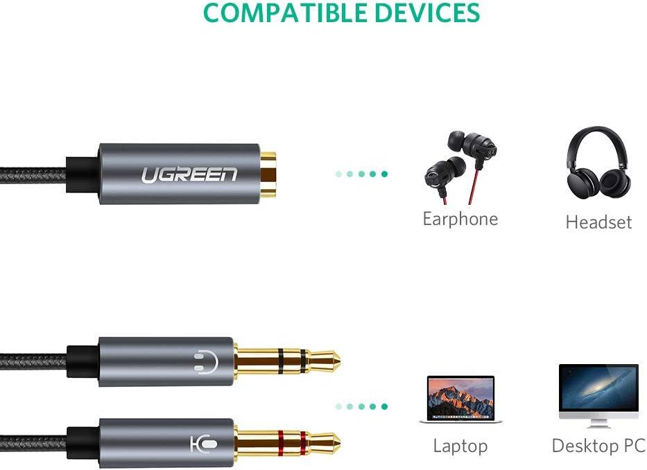 UGREEN Audio Y Adapter Klinke Auido Kabel 3.5mm Buchse auf Klinkenstecker Computer usw. Headset /& Mikrofon Audio Splitter Kabel Aluminium CTIA Standard f/ür Kopfh/örer