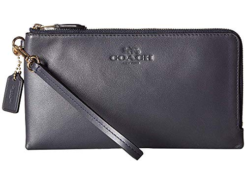 COACH Women's Pebbled Leather Double Zip Wallet Im/Midnight One Size