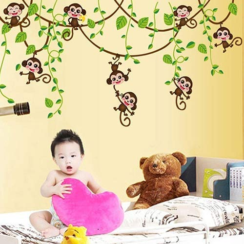 - Potelin Home Kid Room Decoration Cartoon Cute Monkeys Climbing Jungle Tree Wall Sticker Durable and Useful